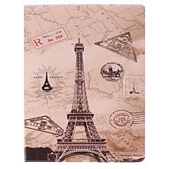아이 패드 2/3/4를위한 대를 가진 에펠 탑 디자인 PU 가득 차있는 몸 케이스