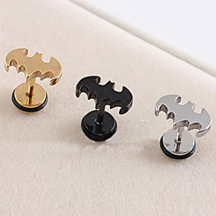 Lureme®316L Surgical Titanium Steel Electroplating Bat Single Stud Earrings (Random Color) Jewelry Christmas Gifts