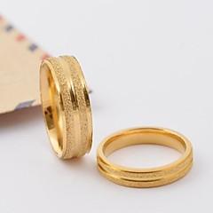 Classic Gold Scrub Stripe Titanium Steel Couple Rings
