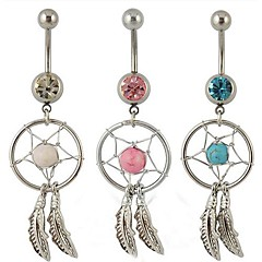 lureme®316l anillo de acero de titanio atrapasueños cristal pluma colgante ombligo quirúrgica (color al azar) \\\\\\\\\\\\\\\\