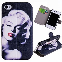 Special Grains Sexy Marilyn Pattern PU Full Body Case with Card Slot for iPhone 4/4S