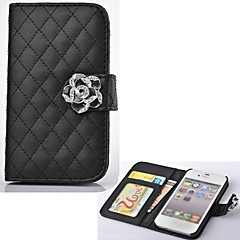 Plaid Shape PU Leather Case Card Slots  with Stand   for iPhone 4/4S