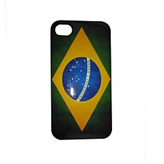 Vintage Brazil Flag Pattern PC Back Case for iPhone 4/4S