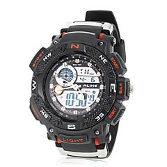 Herren LCD runden Zifferblatt Rubber Band Quarz Analog Sport-Uhr (verschiedene Farben)