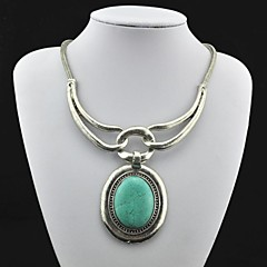 Collar pendiente de la vendimia de plata de la turquesa de la antigüedad (Verde) (1 PC)