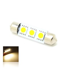 39mm 1W 3x5050 SMD LED 50lm 3000K Warm White Lights Festoon Dome Map License Plate Lyspære for bil (12V DC)