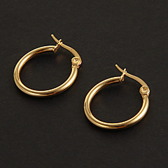 Fashion Simple 1.5CM Round Shape Golden Stainless Steel Hoop Earrings (1 Pair)