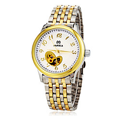 Men's Auto-Mechanical Hollow Heart Skeleton Steel Band Wrist Watch (Assorted Colors)