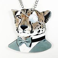 Leopard Pattern Wood Necklace