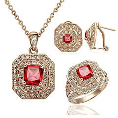 chapado en oro de lujo glamour misterioso cristal rojo joyas de 18 quilates zirconia collares aretes conjunto anillo de rubí