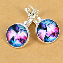 European Colorful Galaxy Silver Stud Earring(1 Pair)