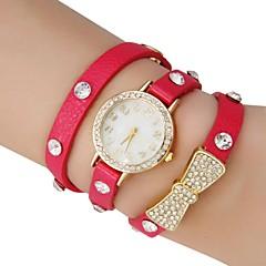 Motif de la chaîne de l'or des femmes Dial papillon PU bande de montre bracelet à quartz analogique avec strass (couleurs assorties)