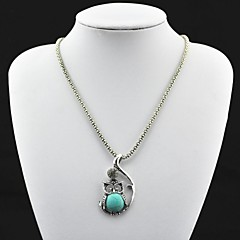 Toonykelly® Vintage(OWL)Antique Silver Turquoise Necklace(Green)(1 Pc)