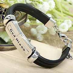 Moda Estilo Euramerican Bela Deus abençoe Cadeia Couro Preto Alloy & Ligação Bracelet (1 Pc)