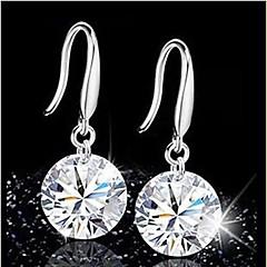 Fashion Silver Zircon Crysta Drop Earrings