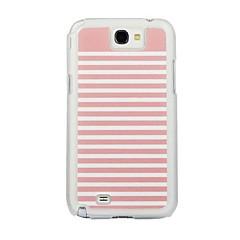 サムスン注N7100のためのピンクと白のストライプレザー静脈パターンのPCハードケース