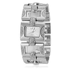 Simple cadran carré de quartz de bande de montre de mode analogique en alliage (couleurs assorties) des femmes