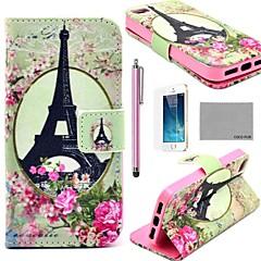 COCO FUN ® Rose Flor Torre Eiffel Padrão PU Leather Case Full Body com Filme, Stand e Stylus para iPhone 5/5S