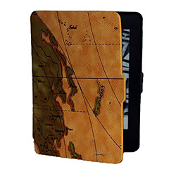 The Brown Background World Map Pattern PU Leather Case for Kindle Paperwhite