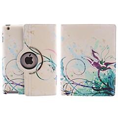 abstrakti Lotus suunnittele 360 astetta pyörivän PU nahka tapauksessa jalusta iPad 2/3/4