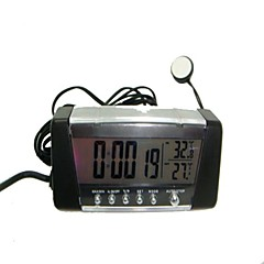 Relógio de carro com higrômetro Display LCD Digital Interior Automotive E Termômetro Exterior Temperatura Alarme-Black