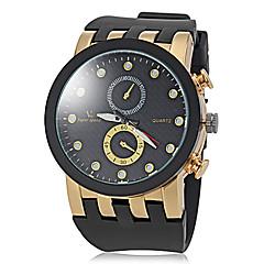 Men's Stylish Gold Case Rubber Band Quartz Wrist Watch (Assorted Colors)