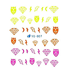 2PCS Owl&Diamond Design Nail Art Fluorescent Watermark Stickers YG-007