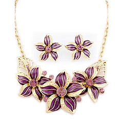 Flowers Golden Alloy (Necklaces&Earrings&) Gemstone Jewelry Sets(More color)