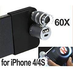 Microscópio Mini 60X com 2-LED Illumination moeda detecção de luz UV para iPhone 4/4S (3 * LR1130)