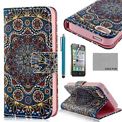 COCO FUN® Golden Tribal PU Leather Full Body Case with Screen Protector, Stand and Stylus for iPhone 4/4S