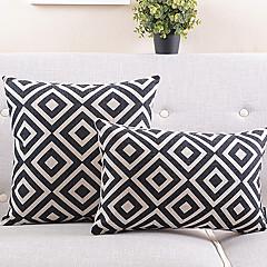 2 kpl musta ja valkoinen ruudullinen puuvilla / pellava koriste tyyny