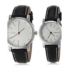 Деловой стиль Кожаный ремешок пары кварцевые наручные часы (разных цветов)
