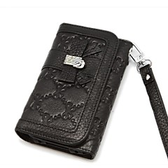 Miatone® Pattern Flip Genuine Leather Full Body Case with Card Slot and Strap for iPhone 4/4S