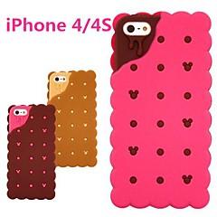 3d sandwich à biscuit boîtier en caoutchouc conception de silicium pour iPhone 4 / 4S (couleurs en option)