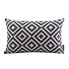 czarny i biały pled bawełna / len pokrycie dekoracyjne poduszki