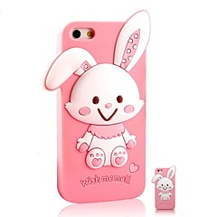 3D Catoon Cute Rabbit Pattern Silicon Rubber Case for iPhone4/4s(Assorted Colors)