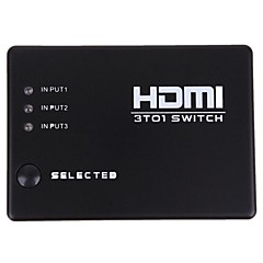 nye 3 porte hdmi audio video switch switcher 1080p splitter forstærker fjernbetjening kasse