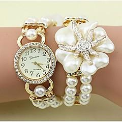 Dame Modeur Armbåndsur Quartz Imiteret Diamant Legering Bånd Blomst Perler Elegante Hvid Gråt Guld Brand