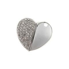 ZP 8gb καρδιά διαμάντι μοτίβο μεταλλικό στυλ usb κίνηση λάμψης