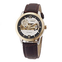 Men's Business Style Automatic Self Wind Hollow Engraving Gold Case Rim Brown Leather Band Wrist Watch