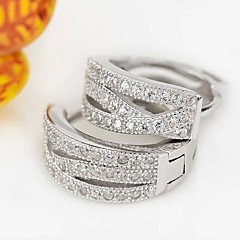 I FREE®Women's Classic Three Rows Diamond S925 Silver Leaf Shape Hoop Earrings 2 pcs (1 pair)