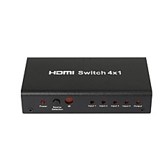 4-port 1080p HDMI auto-switch splitter switcher hub kasse kabel LCD HDTV, metalhus med strømadapter