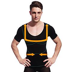 nyári férfi karcsúsító alakformáló rövid ujjú ing has szabályozás fehérnemű cég has mell fekete ny103