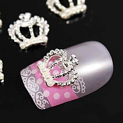 10pcs   Pearl Crown 3D Rhinestones  Alloy Nail Art Decoration