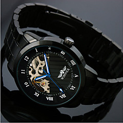 För män Skeleton Black Steel Band Automatic Mechanical armbandsur