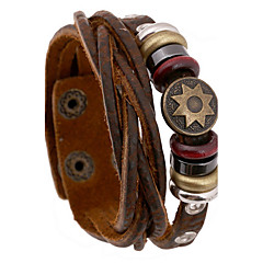 Fashion  20cm Men's Brown Leather Leather Bracelet(1 Pc)