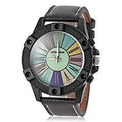 couro de marcação colorido relógio banda de pulso de quartzo dos homens