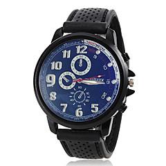 Men's Simple Round Dial Rubber Band Quartz Analog Sport Watch (Assorted Colors) Cool Watch Unique Watch