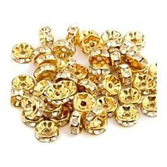 de forma redonda con perlas artificiales de metal de diamante espaciadores (50 piezas)