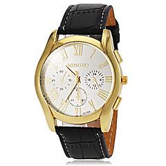 mænds afslappet guld urkasse læderbånd kvarts kjole ur (assorterede farver)